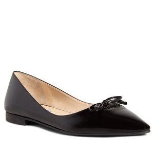 Prada Saffiano Leather Logo Bow Black Flats